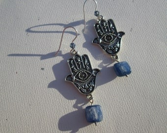 Earrings Hamsa Hand Charm with Kyanite and Swarovski Crystals on Sterling Silver Earwires
