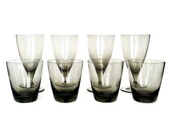 Smokey Crystal Bar Set, Wine Glasses, Whiskey Glasses, Danish Modern, Set of Eight