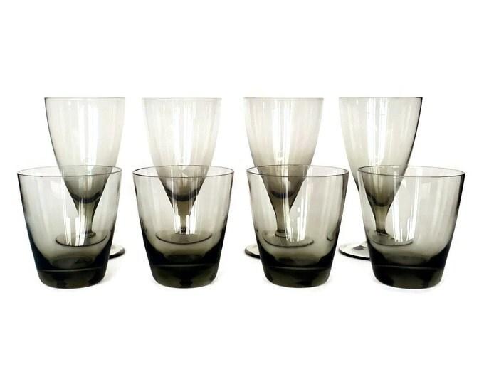 Featured listing image: Smokey Crystal Bar Set, Wine Glasses, Whiskey Glasses, Danish Modern, Set of Eight