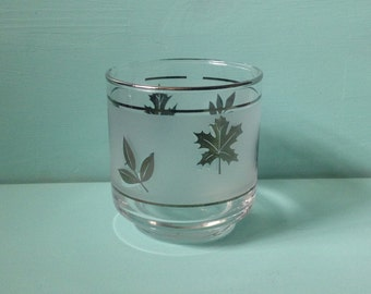 1950s 50s vintage silver leaf frosted glass tumbler / rocks glass