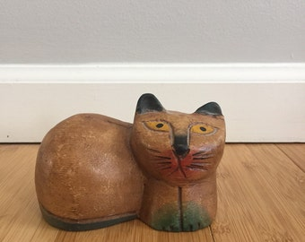 Vintage Hand Carved Kitty Cat