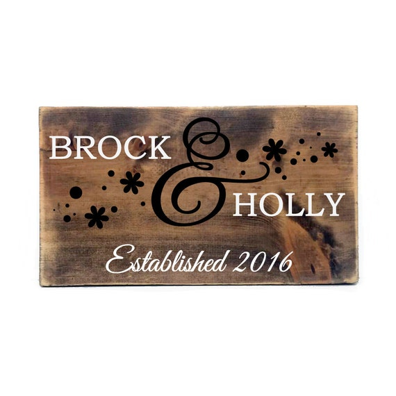 Rustic personalized established wood sign primitive by levinyl for Personalized home decor