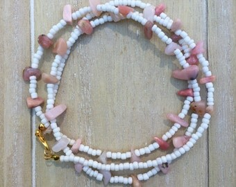 Long natural stone necklace with pink opal nuggets and white glass seadbeads