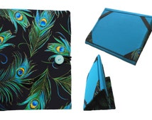 iPad Air 2 Case, iPad Cover Hardcover, iPad Air Case, iPad Case Stand, iPad Mini Case, iPad Mini Cover, Turquoise Peacock Feathers