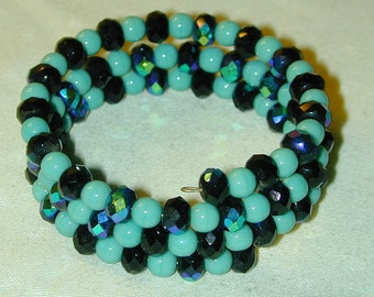 Memory Wrap Bracelet Iridescent and Turquoise Blue Glass Beads