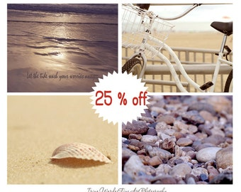 By the seashore decor, four coastal print set, sea shore photo, wall art beach photography set, beige tan bronze brown beach bathroom decor