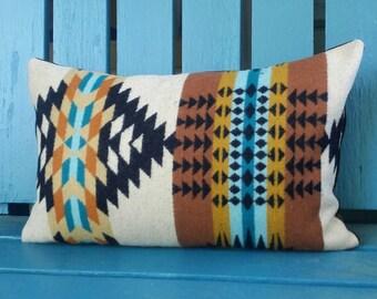 SALE Teal and Tan Navajo Pillow