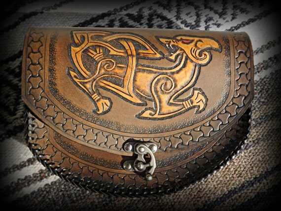 Viking Leather Belt Pouch Fenrir Wolf - Viking Inspired - Festival / Bushcraft Possibilities Bag - Freki & Geri