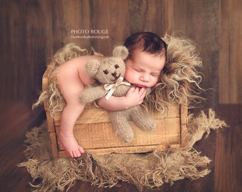 Baby bear toy, Teddy bear, knitted about 20-21 cm, brown and fluffy, Photo prop made to order
