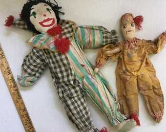 Pair of Vintage tattered stuffed clown  stuffed toy doll