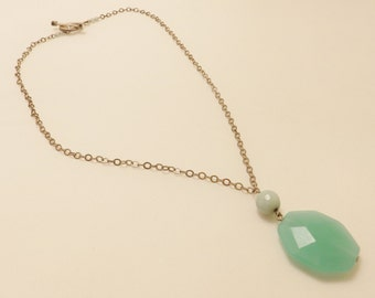 Sterling Silver Mint Green Glass Pendant Necklace