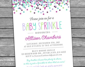 Baby Sprinkle Shower Invitation Girl Polkadots Confetti