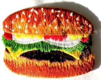 Hamburger, Pickle, Lettuce Mustard, Mayonnaise, Onion, Bun, Like McDonalds applique Iron or Sew On patch Burger Hamburger Food iron on Patch