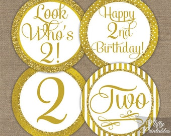2nd Birthday Cupcake Toppers - Gold 2nd Birthday Toppers - Printable 2 Years Old Birthday Party Decorations - 2nd Birthday Favor Tags GLD