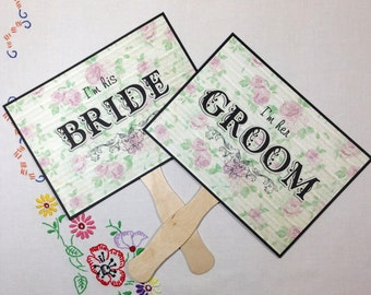 Paddle Fans, Double Sided Wedding Sign, Floral Wedding Sign, Bride & Groom Wedding Sign, Thank You Wedding Sign, Photo Prop Signs