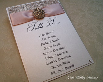 Table Plan Card. Seating Plan Tag. Wedding Table Plan Card.