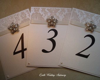 Luxury Wedding Table Number. Wedding Table Name. Pearl and Diamante Wedding.