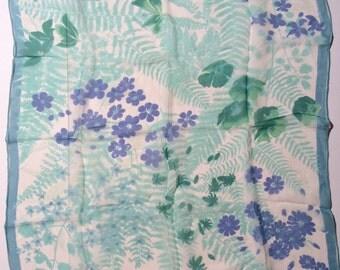 Vintage 1960s Vera Ladybug Sheer Silk Blend Scarf/Natural/Light Blue/Floral Chiffon