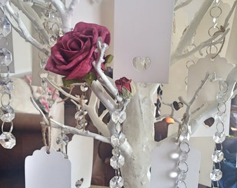 Single rose wishing tree with cyrstal drops and message tags, make a wish for it will come true