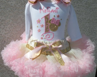 Minnie Mouse Swirl Gold And Pink Birthday Number Pettiskirt -Personalized Birthday Pettiskirt,Sizes 6m - 14/16