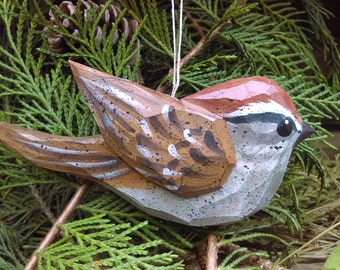 Hand Carved Bird Ornament (Sparrow)