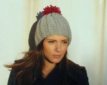 POM POM Knitted Hat - Womens gift - Womens Wool Hat by EllenaKnits