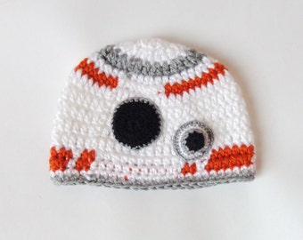 BB-8 Droid Hat From Star Wars BB 8 Costume - Newborn, Child, Teen, Adult - Halloween Wig / Cosplay Wign