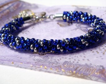 SALE 45% OFF - Blue & Silver Beaded Kumihimo Bracelet