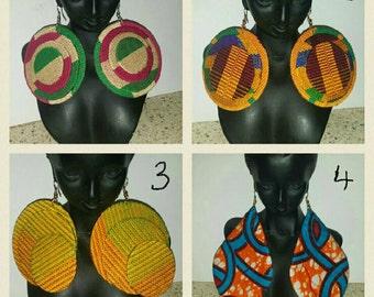 PETIZ Genuine Kente Large Round & Shallot Print Earrings