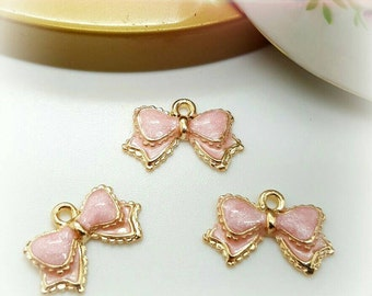 3 Bow charms - Bow Pendant - Pink Bow - Pink Enamel Charm- Gold Tone 16 X 10 mm, Jewelry Supplies, Beautiful CTPKBOW Ships from Florida U.S.