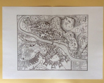 Antique Etching Vintage Map Salsburg Austria Old European City Village Middle Ages Collectible Home Wall Decor Collectible