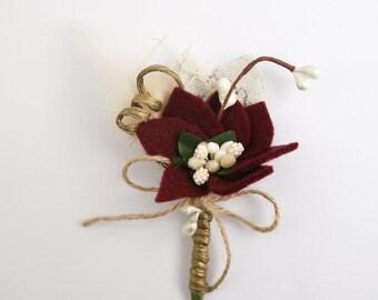 Rustic boutonniere, Marsala boutonniere, Boutineer, Bordeaux, Buttonhole for groom, groomsmen, burgundy boutonniere, Men Boutonnieres