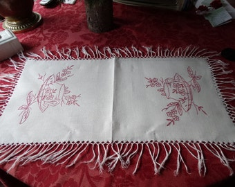 """CODE: MOVINGSALE 35% OFF  Antique Homespun Linen Tea Tray Liner with needlework in """"turkey red"""" and hand knotted fringe."""