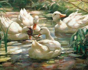 Ducks in a Pond in the Wood - Counted cross stitch pattern in PDF format