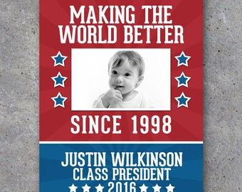Election Campaign Poster 3 – Printable Photo Poster personalized with your baby photo, name and running title – Funny – Vote For Me Campaign