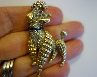 Trifari 'Alfred Philippe' Gold and Pave with Sapphire Collar Poodle Dog Pin