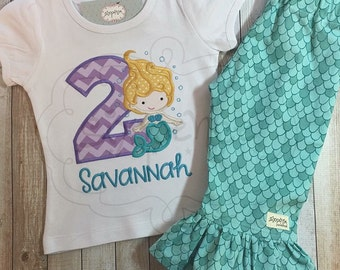 Mermaid Birthday Shirt | Shirt or Bodysuit | Custom Appliquéd & Embroidered | Personalized Birthday | Under The Sea | By Sixpence