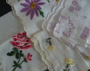 4 vintage embroidered hankies. Delicate snot rags for proper ladies.