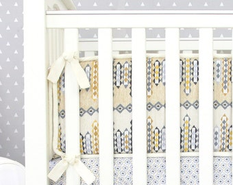 15% OFF SALE - Graham's Golden Tribal Crib Bumpers | Yellow and Gray Baby Bumpers