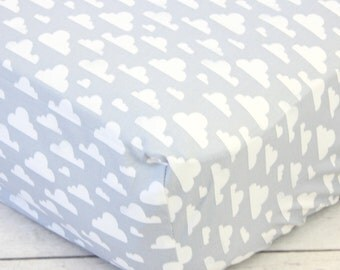 15% OFF SALE- Cloud Crib Sheet | Gray and White | Cloudy Day Collection