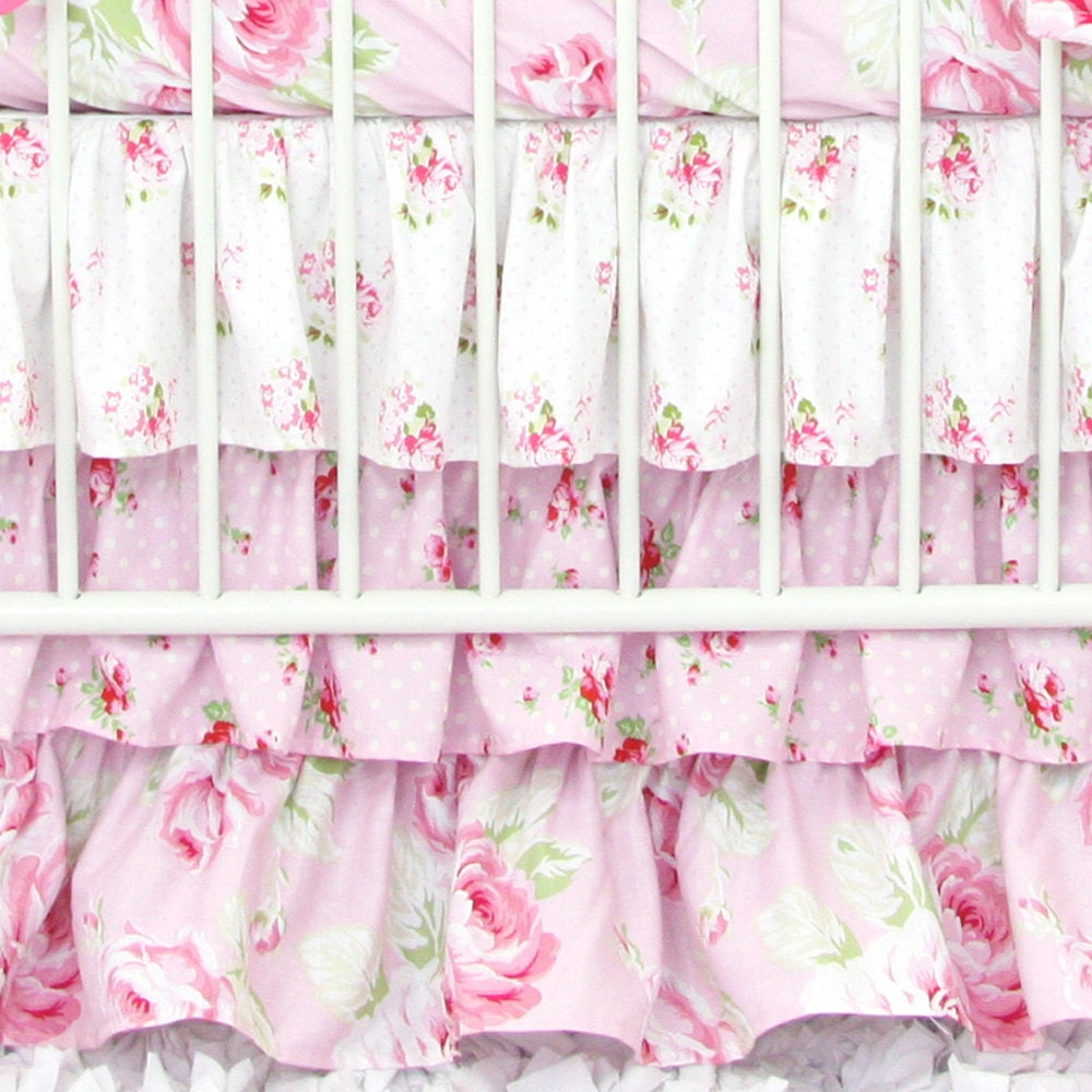 Shabby Chic Rose Ruffle Crib Skirt Floral Rose Pink Light