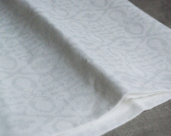 Linen damask remnant natural white geometric patterned reversible European flax