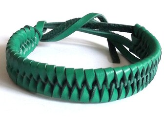 Green real leather tie on plaited woven wristband strap band friendship bracelet
