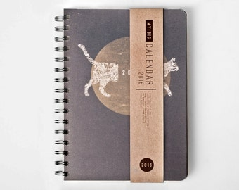 Planner 2016 September - 2017 September. Great A5 Weekly Diary with CAT! Kitty Calendar Calendario Kalender Journal! Dated or Undated!