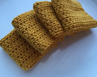 Crocheted Dishcloth Set-Golden Yellow