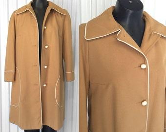 Cute VINTAGE 1960s Mod Mustard Rain Coat – MINT!