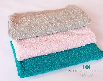 Popcorn fabric,  Newborn beanbag cover, 3 colors avaiable, 2 sizes, fabric backdrop, Olive Beige, Pink, Turquoise, 140x200. FREE Headband PR