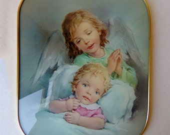 Baby With Guardian Angel  Picture Frame Dome Glass