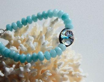 Aquamarine and Albalone Shell Bracelet