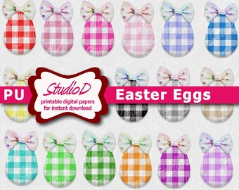 Plaid Easter egg clip art, Pastel scrapbook elements, Cottage chic embellishment, Digital collage sheet for instant download